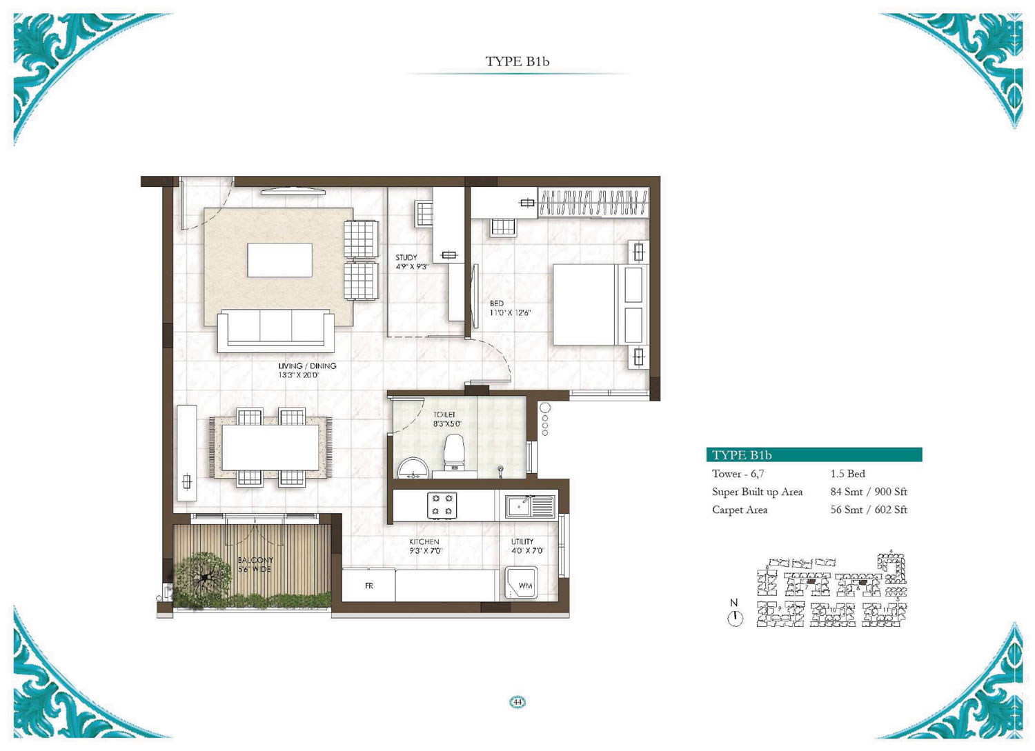 Type B1B - 1 Bed - 900 Sq Ft