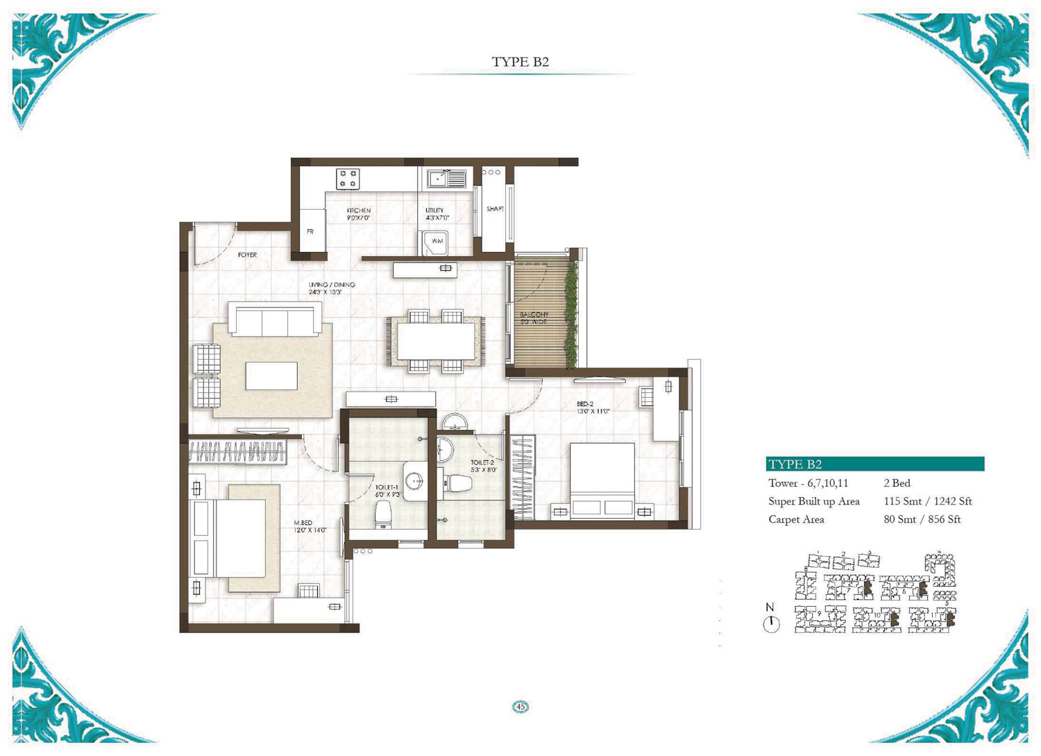 Type B2 - 1 Bed - 1242 Sq Ft