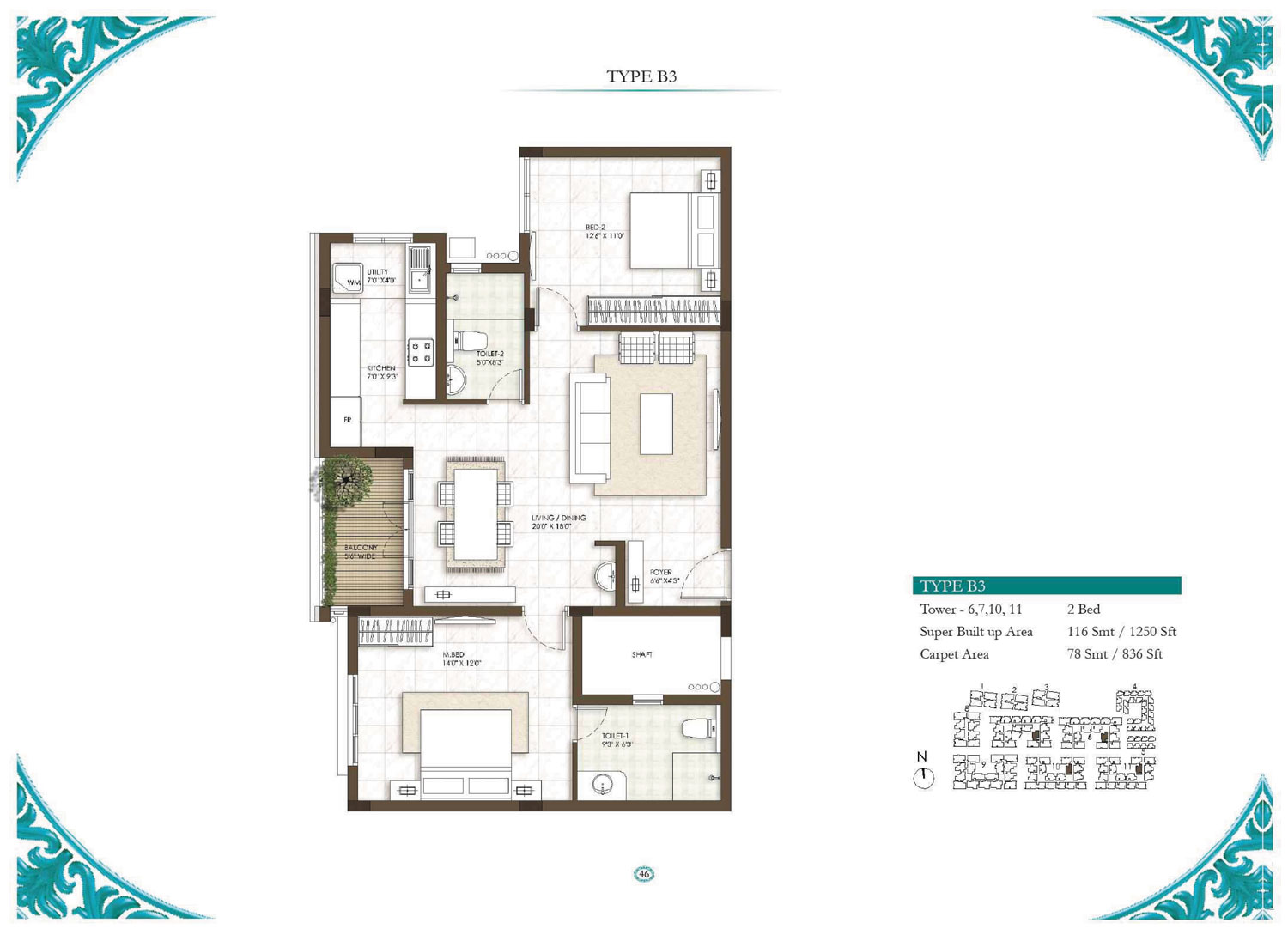 Type B3 - 1 Bed - 1250 Sq Ft