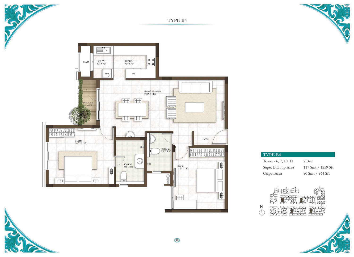 Type B4 - 1 Bed - 1259 Sq Ft