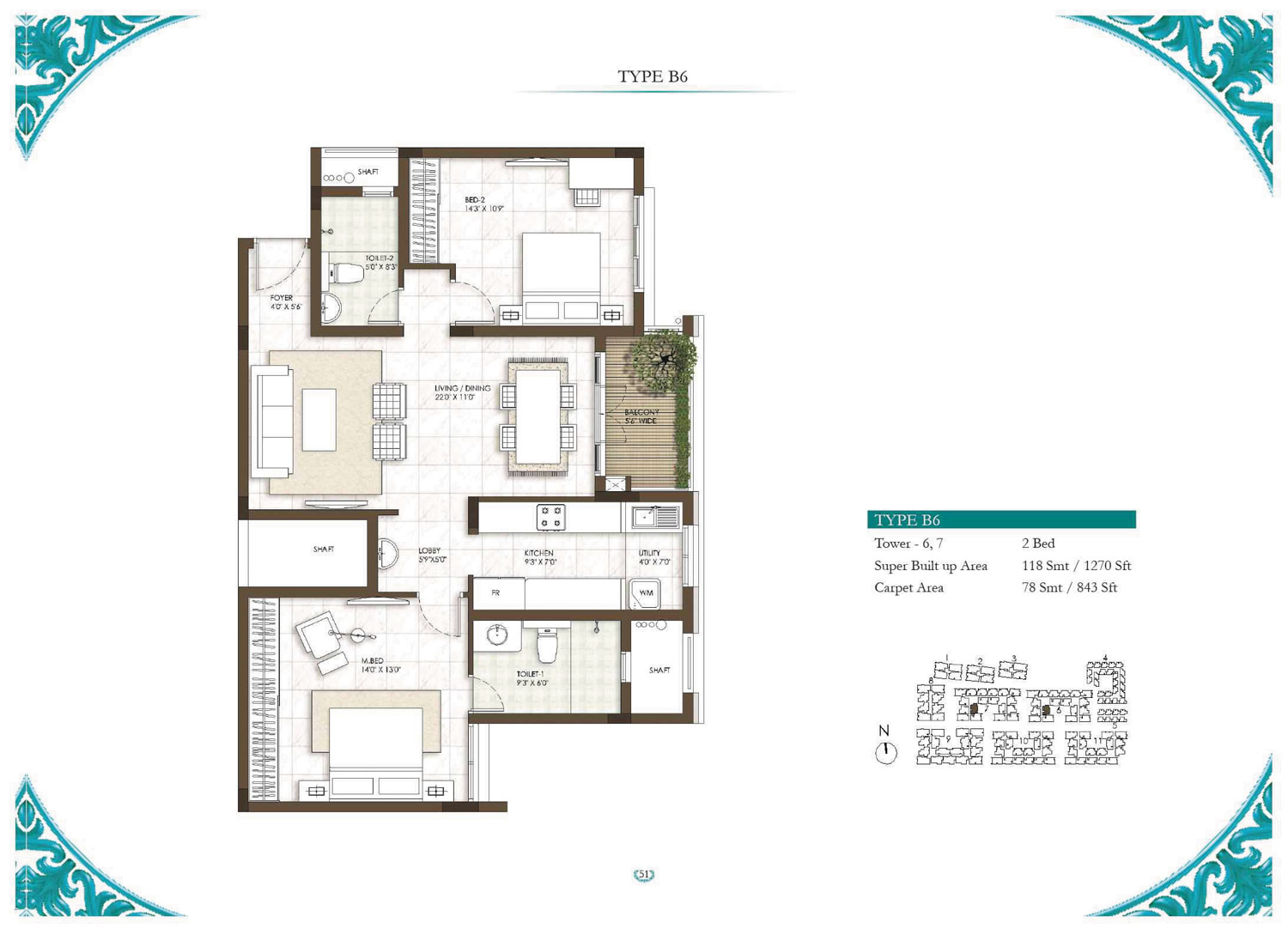 Type B6 - 1 Bed - 1270 Sq Ft