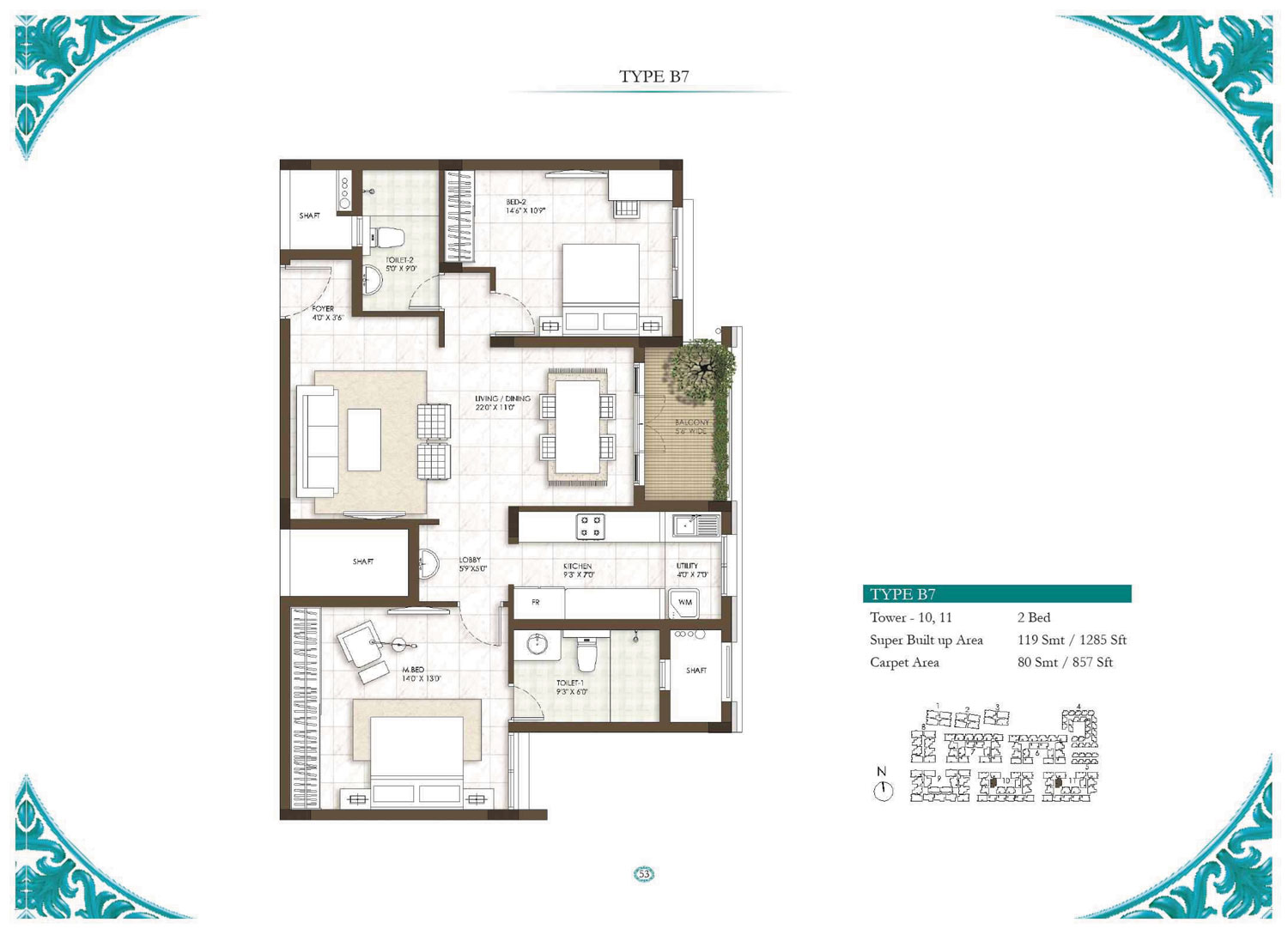 Type B7 - 1 Bed - 1285 Sq Ft
