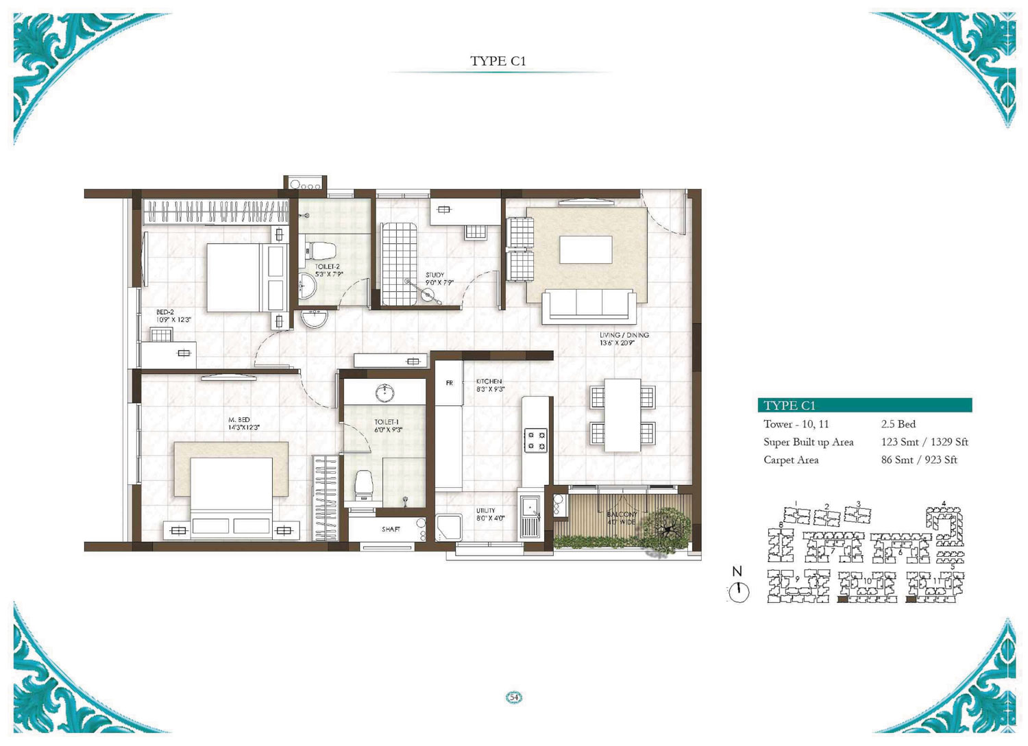 Type C1 - 2.5 Bed - 1329 Sq Ft