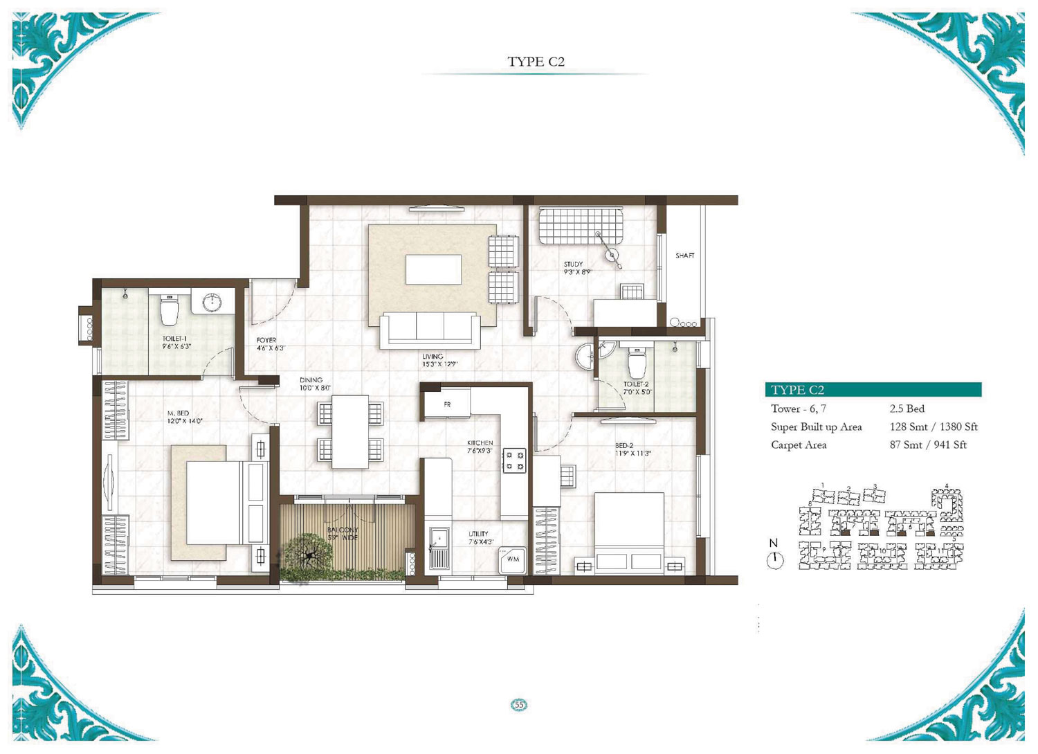 Type C2 - 2.5 Bed - 1380 Sq Ft
