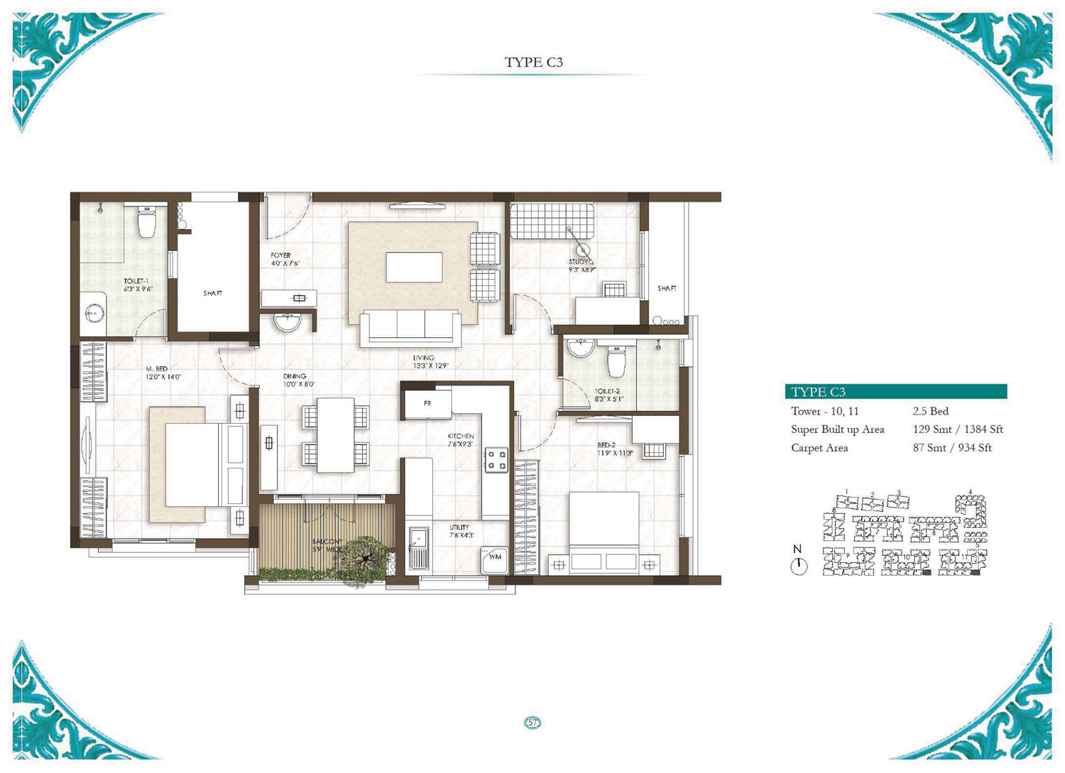 Type C3 - 2.5 Bed - 1384 Sq Ft