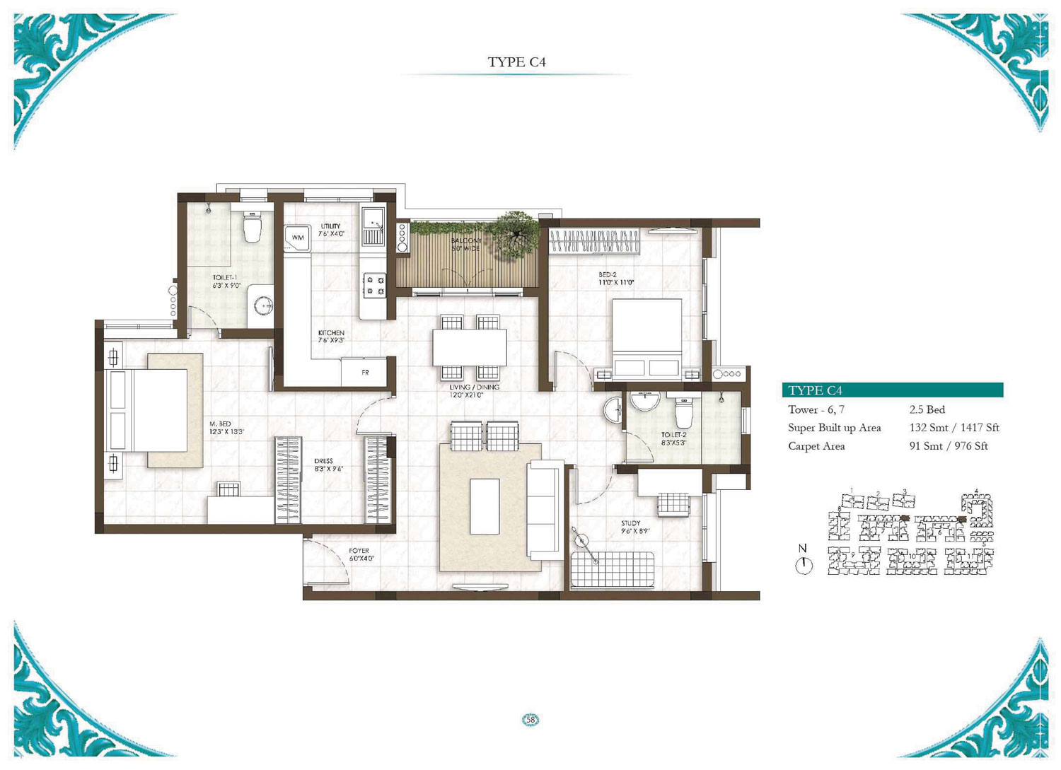 Type C4 - 2.5 Bed - 1417 Sq Ft