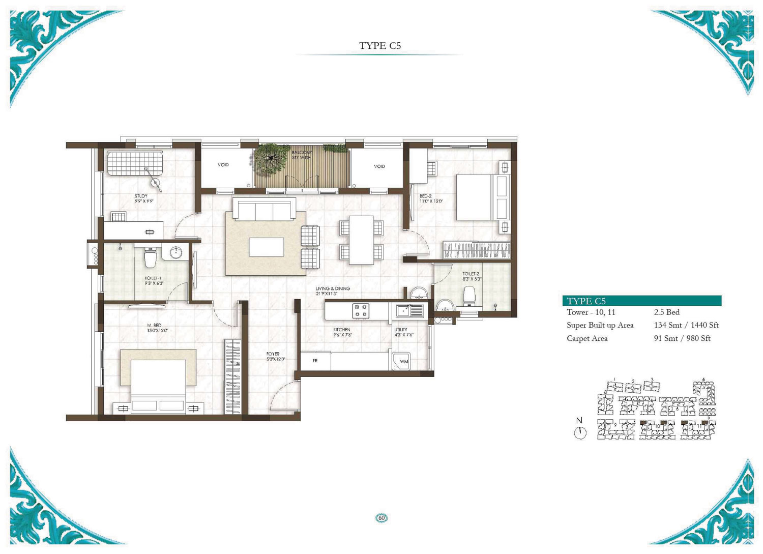 Type C5 - 2.5 Bed - 1440 Sq Ft
