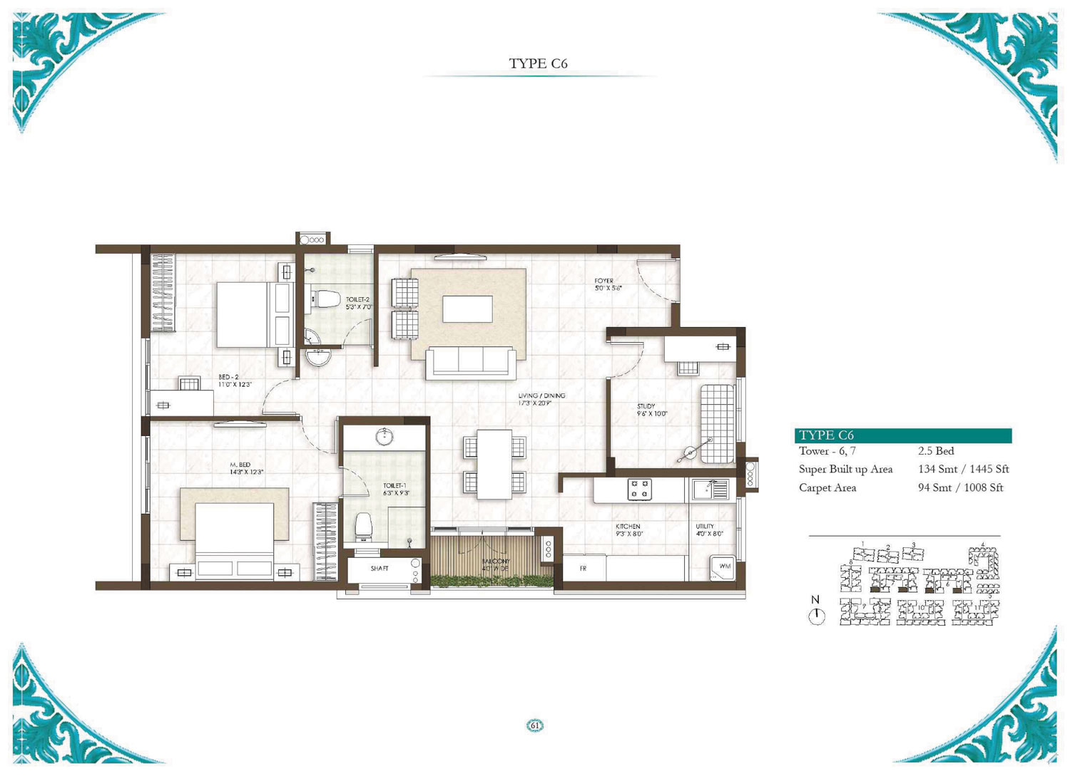 Type C6 - 2.5 Bed - 1445 Sq Ft