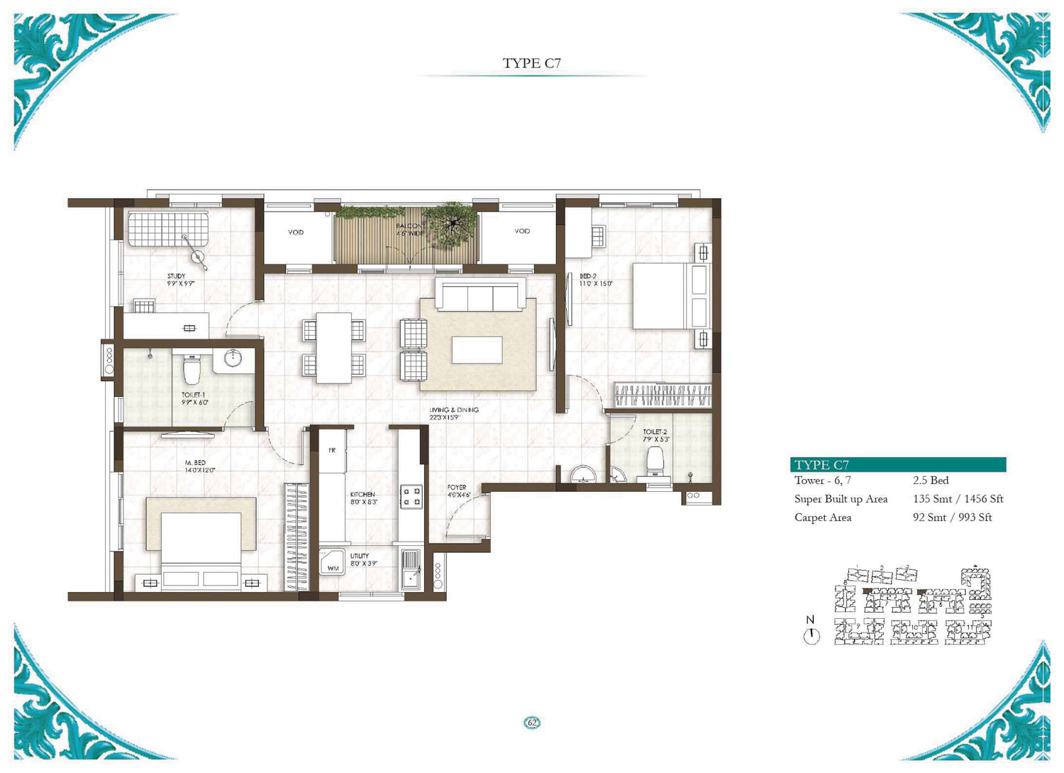 Type C7 - 2.5 Bed - 1456 Sq Ft