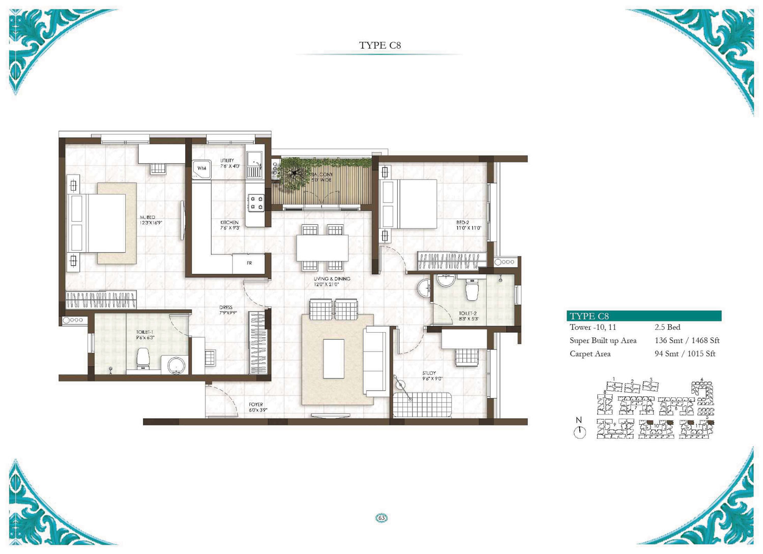 Type C8- 2.5 Bed - 1468 Sq Ft