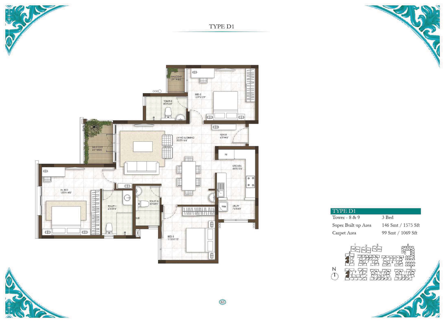 Type D1 - 3 Bed - 1575 Sq Ft