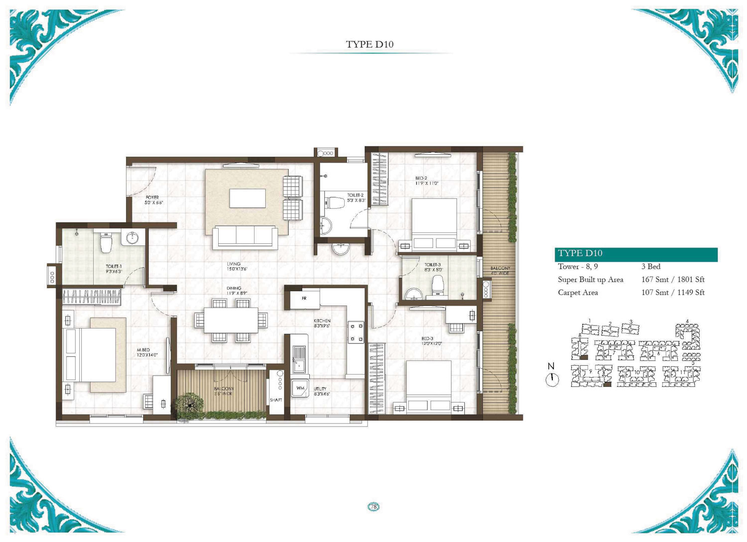 Type D10 - 3 Bed - 1801 Sq Ft
