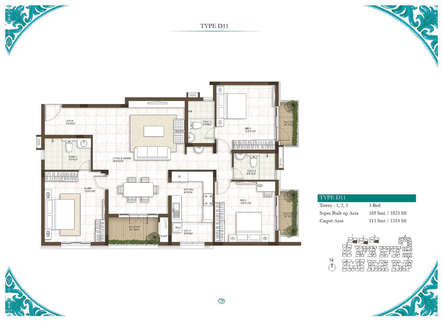 Type D11 - 3 Bed - 1823 Sq Ft