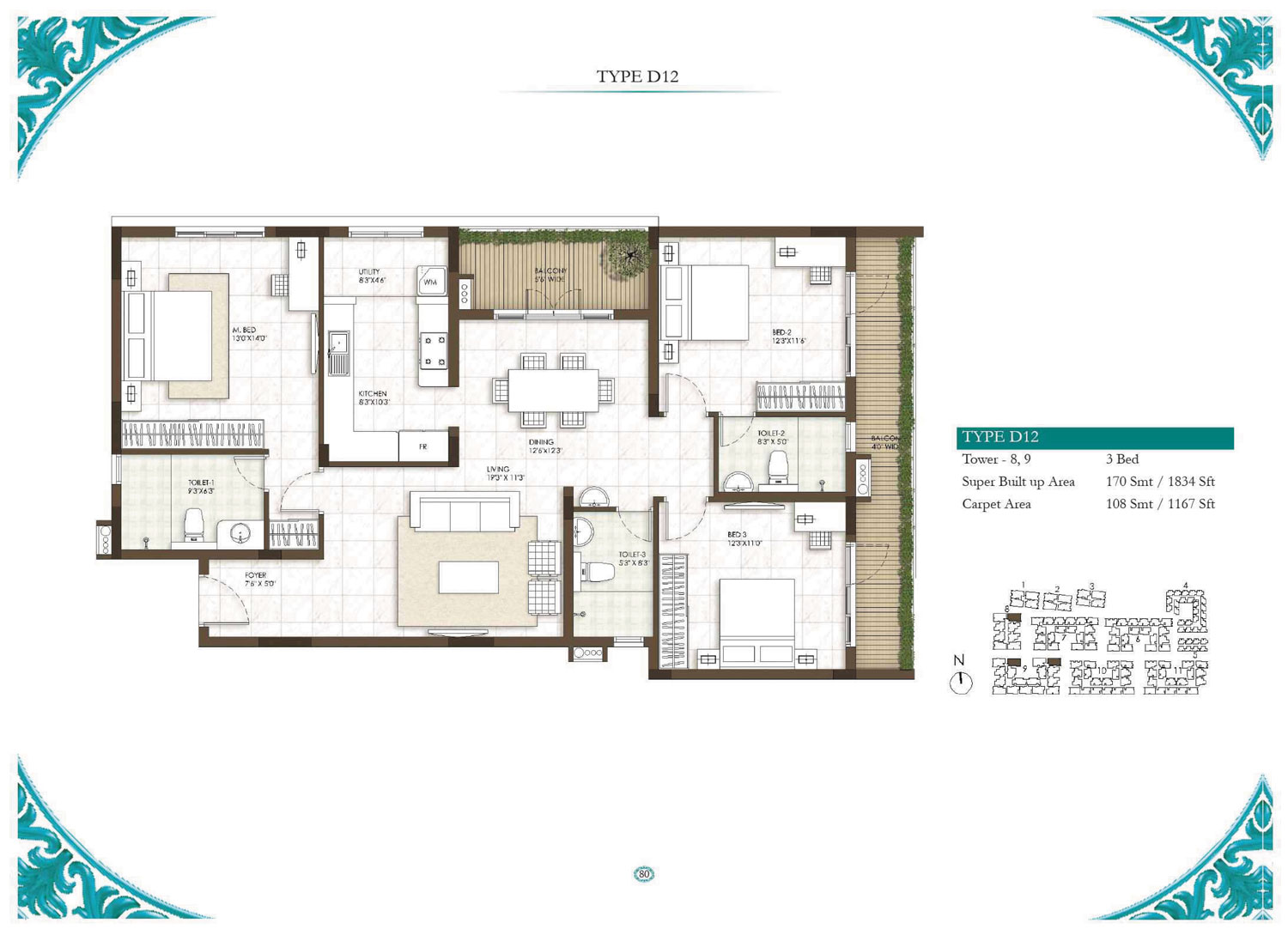 Type D12 - 3 Bed - 1834 Sq Ft