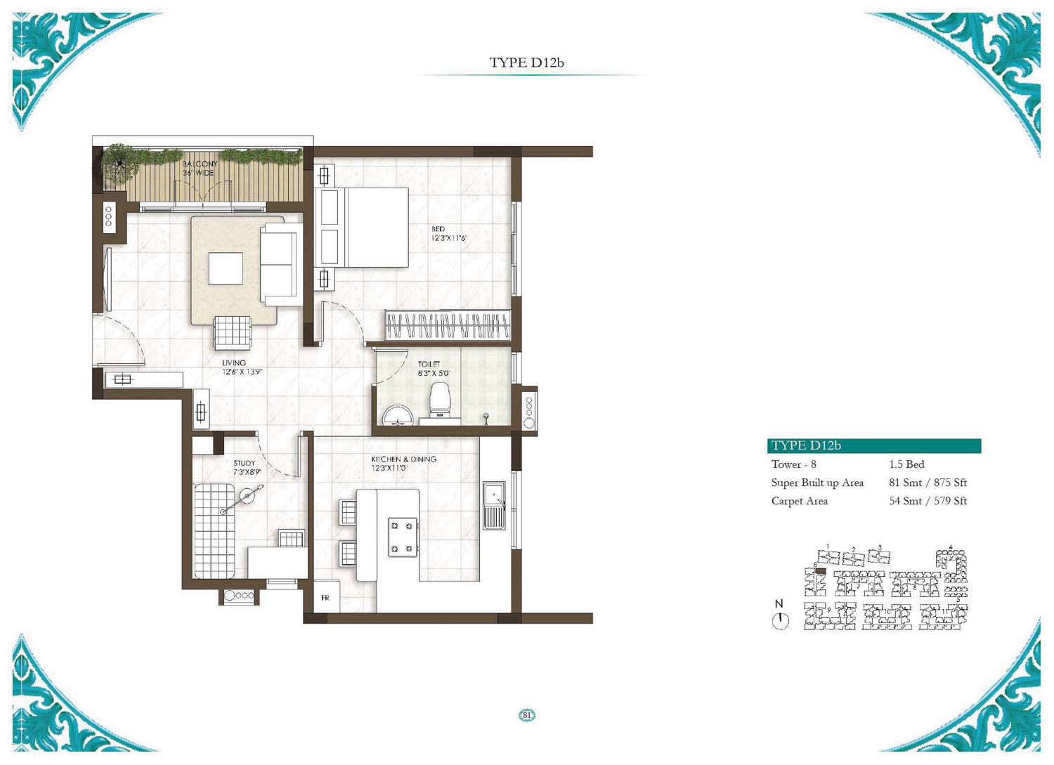 Type D12B - 3 Bed - 875 Sq Ft