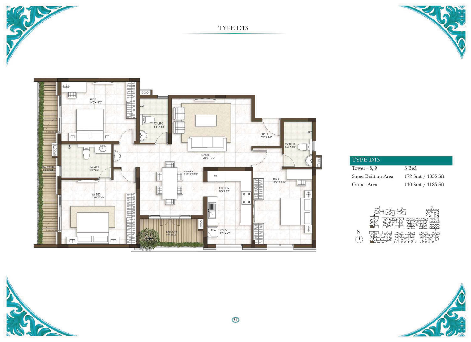 Type D13 - 3 Bed - 1855 Sq Ft