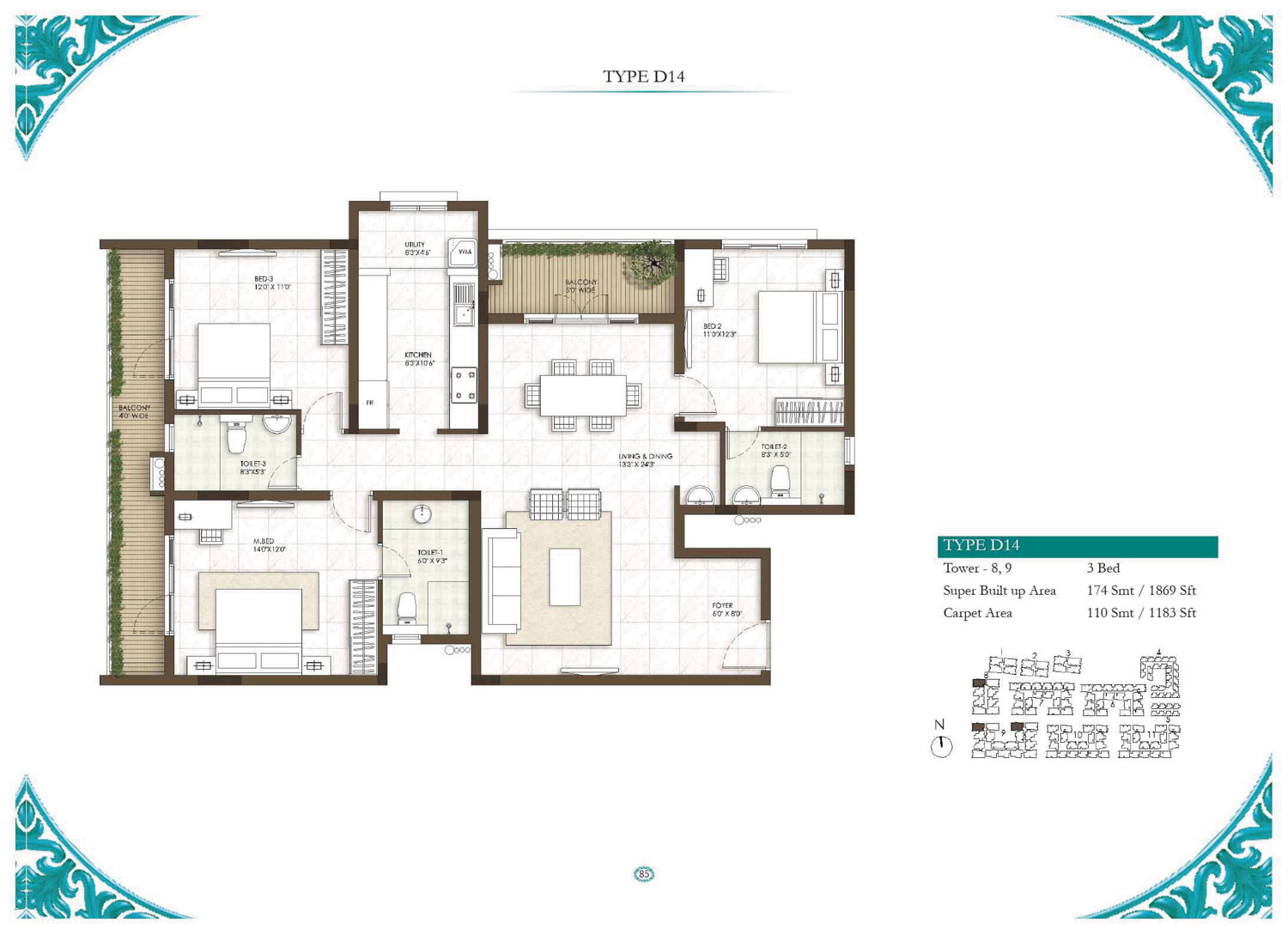 Type D14 - 3 Bed - 1869 Sq Ft