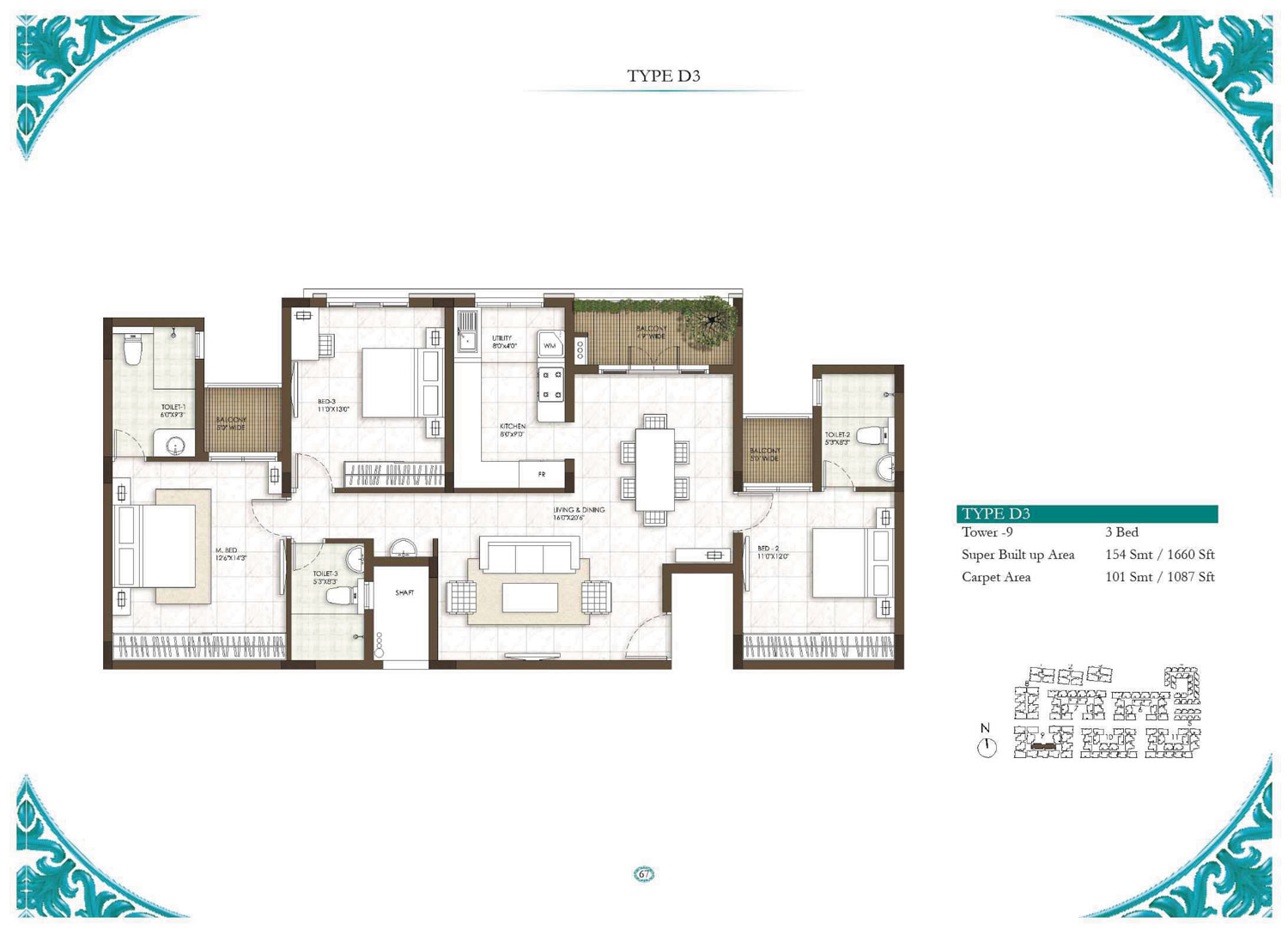 Type D3 - 3 Bed - 1660 Sq Ft