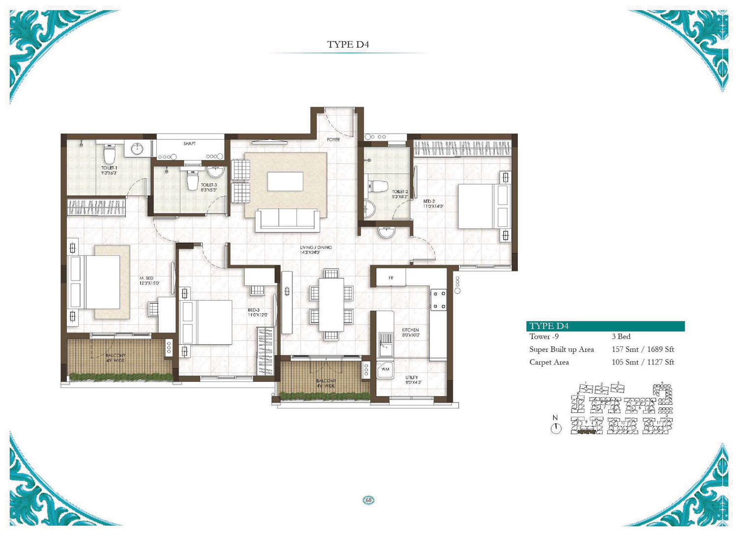 Type D4 - 3 Bed - 1689 Sq Ft