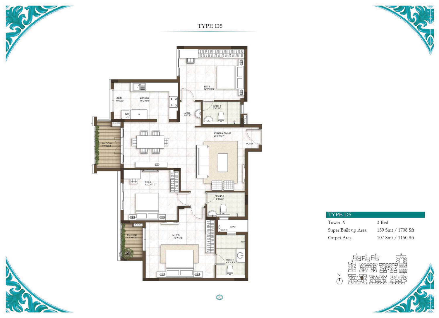 Type D5 - 3 Bed - 1708 Sq Ft