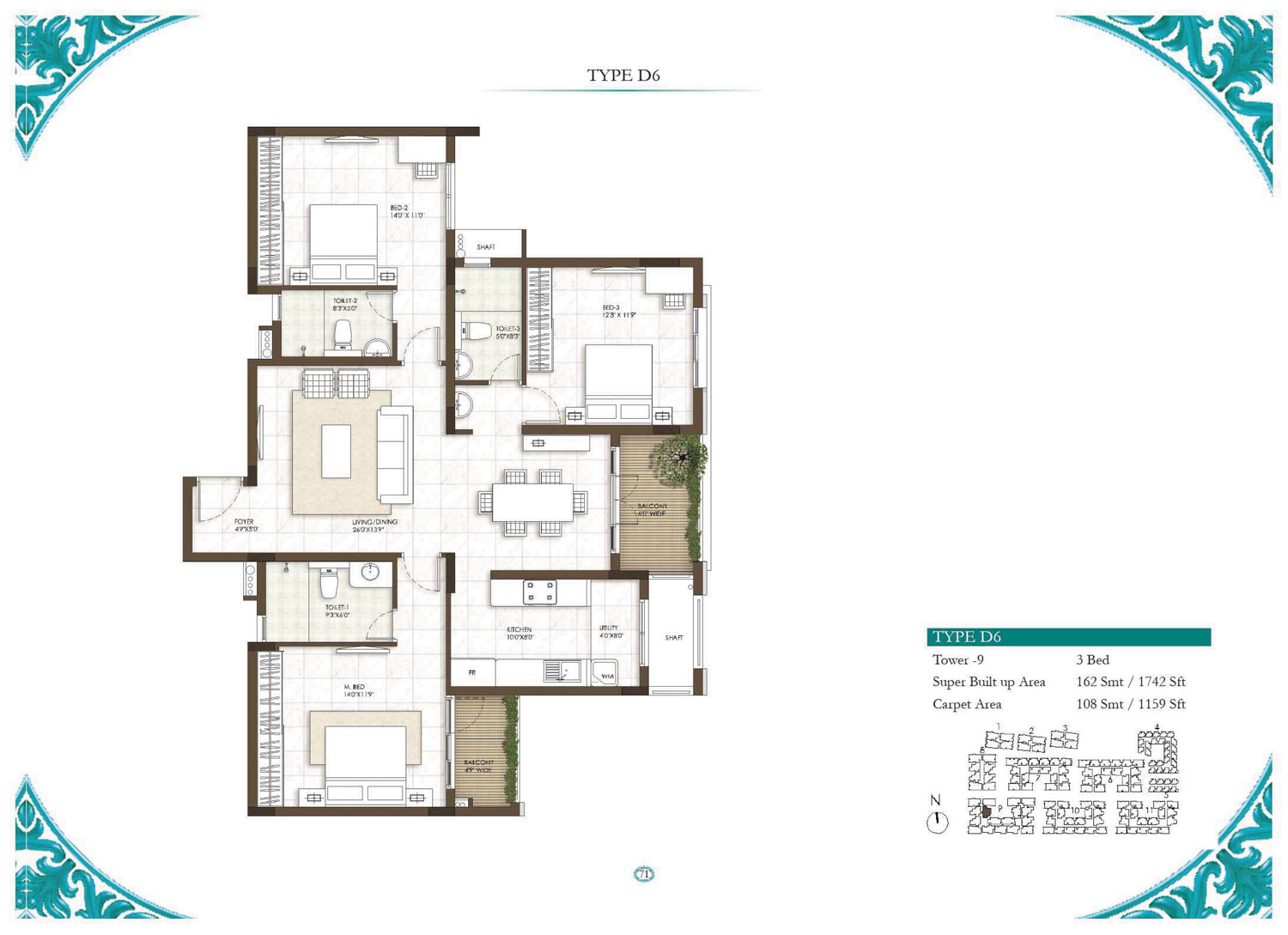 Type D6 - 3 Bed - 1742 Sq Ft