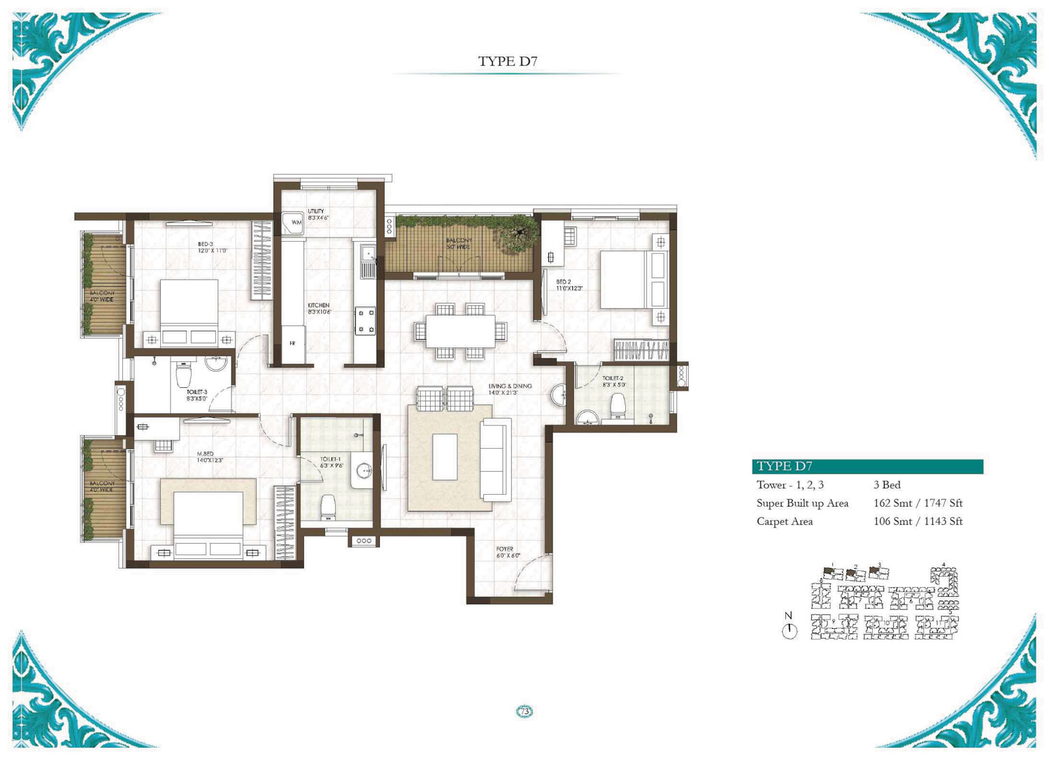 Type D7 - 3 Bed - 1747 Sq Ft