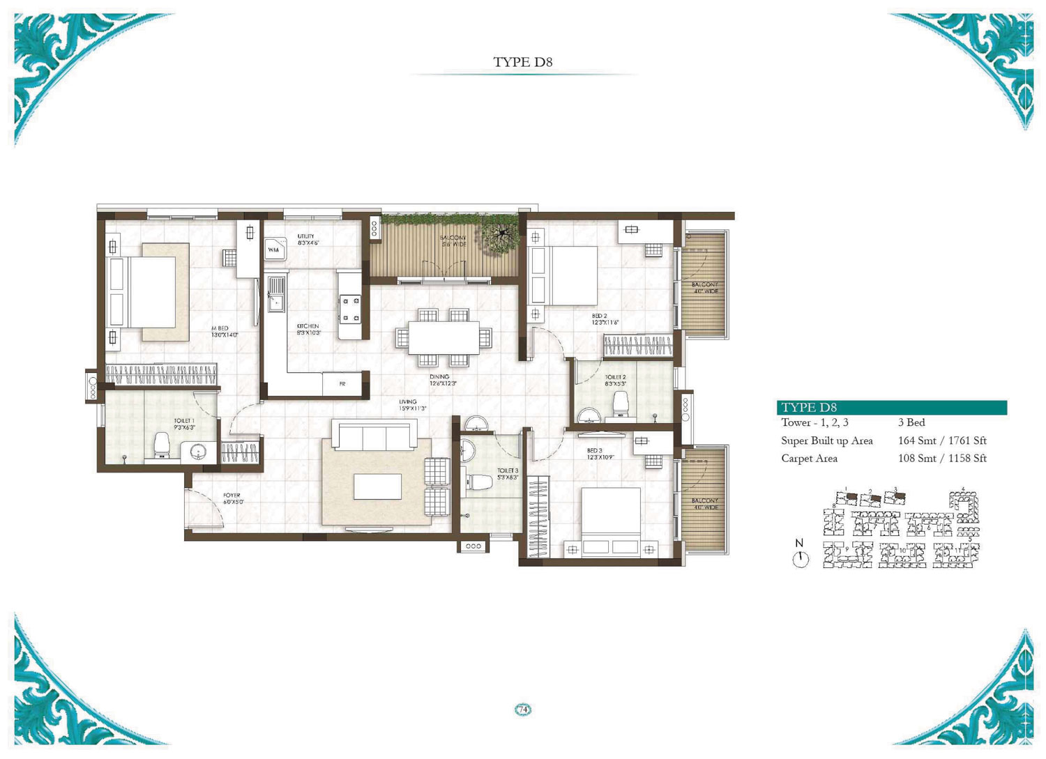 Type D8 - 3 Bed - 1761 Sq Ft