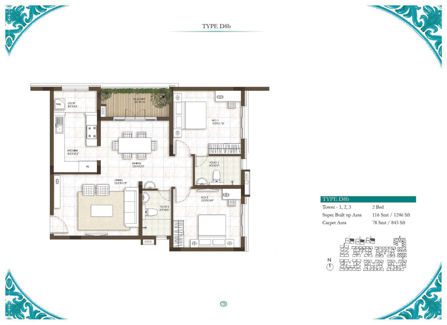 Type D8B - 2 Bed - 1246 Sq Ft