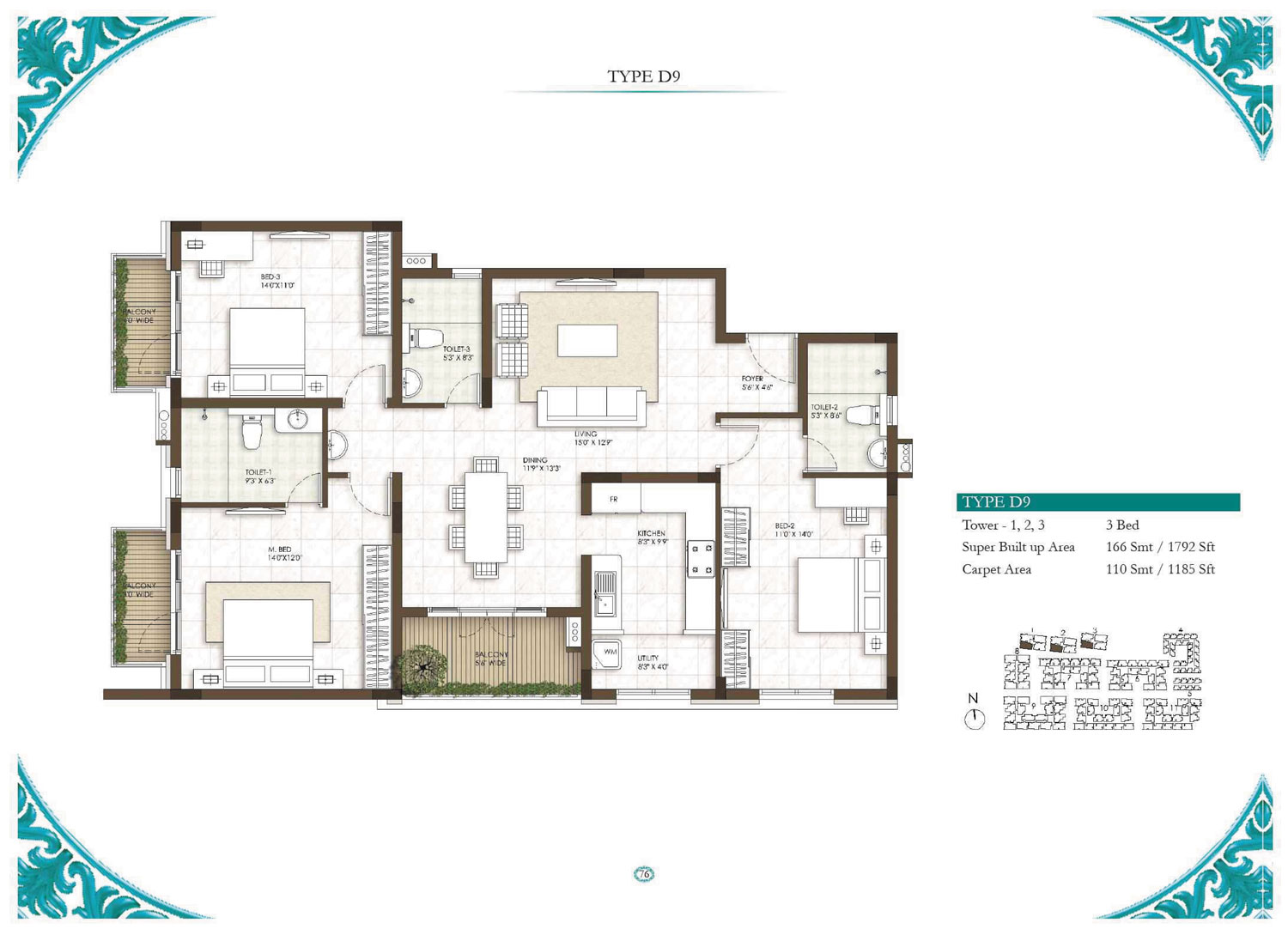 Type D9 - 3 Bed - 1792 Sq Ft