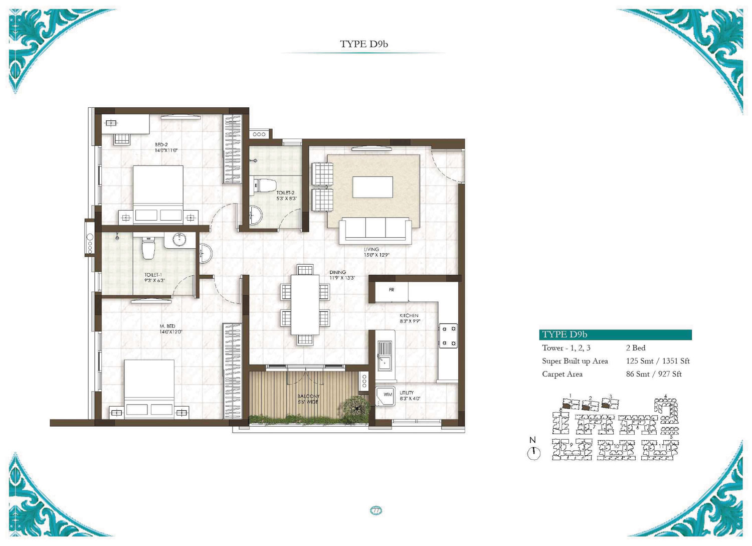 Type D9B - 3 Bed - 1351 Sq Ft