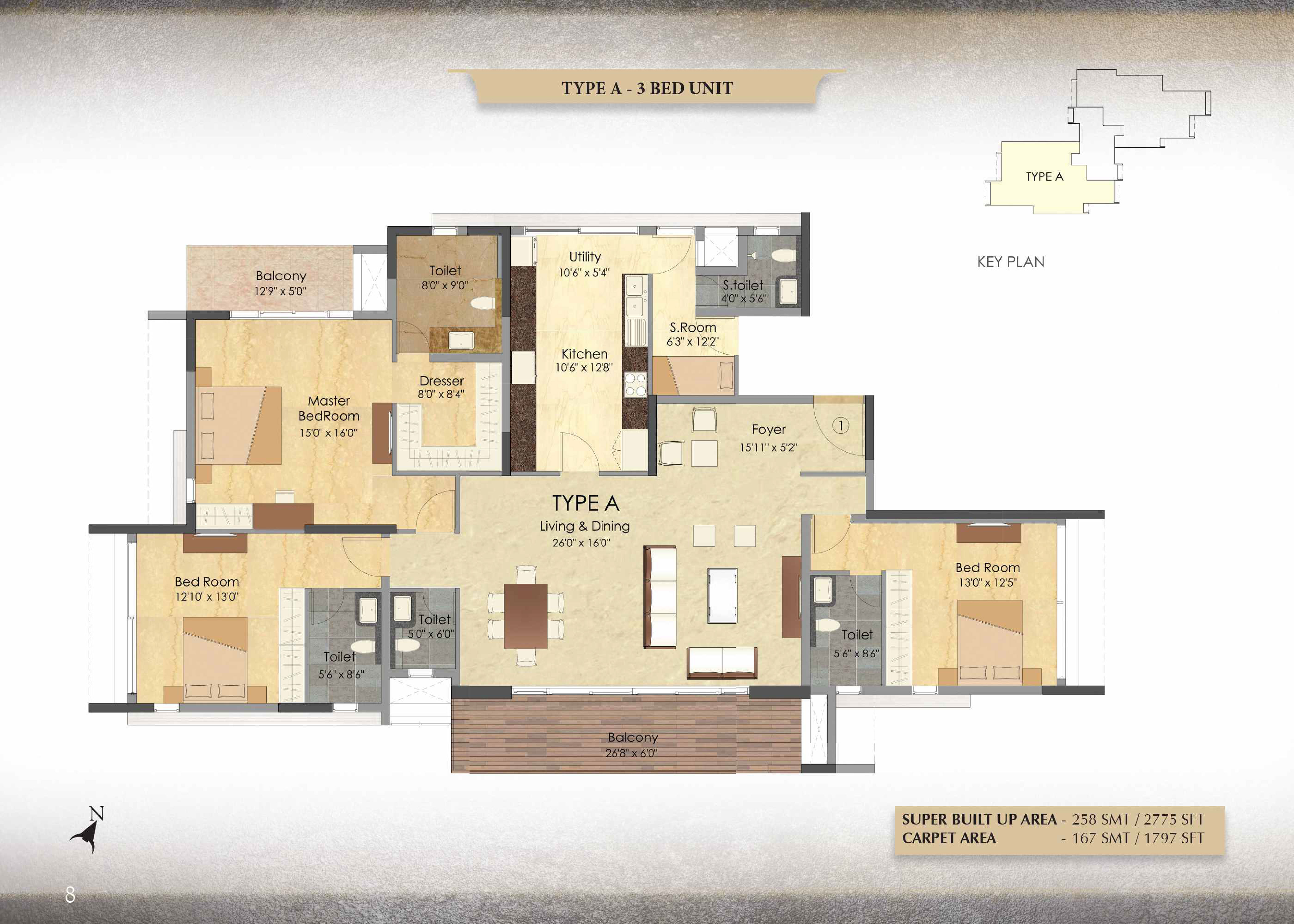 Type A - 3 Bed - 2775 Sq Ft