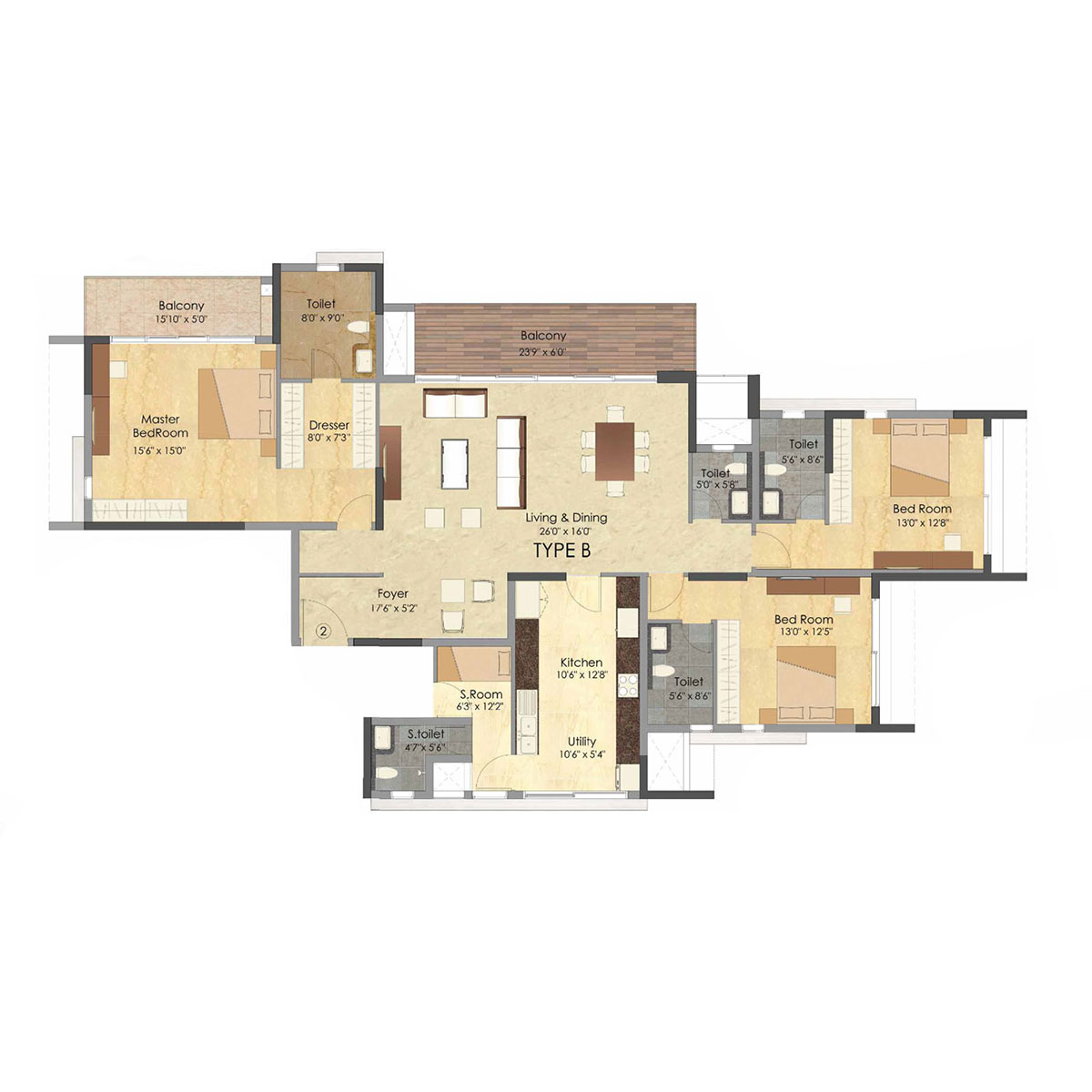 Type B - 3 Bed - 2797 Sq Ft