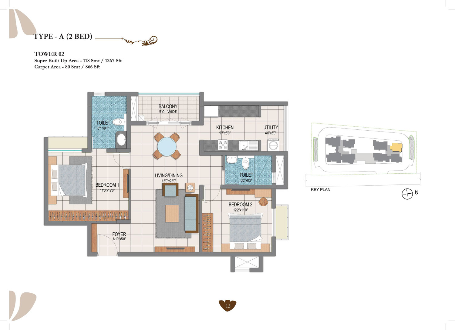 Type A - 2 Bed - 1267 Sq Ft