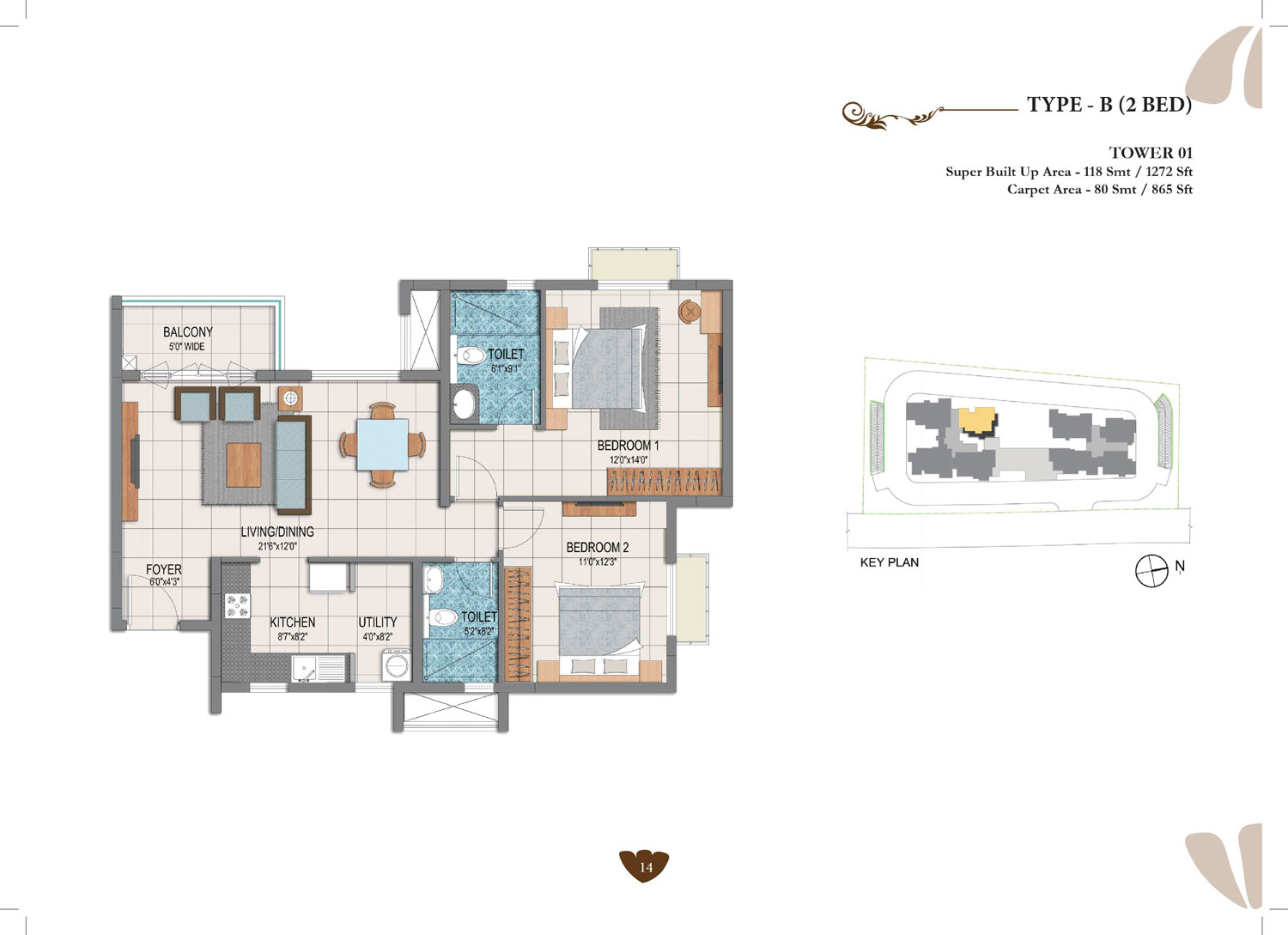 Type B - 2 Bed - 1272 Sq Ft