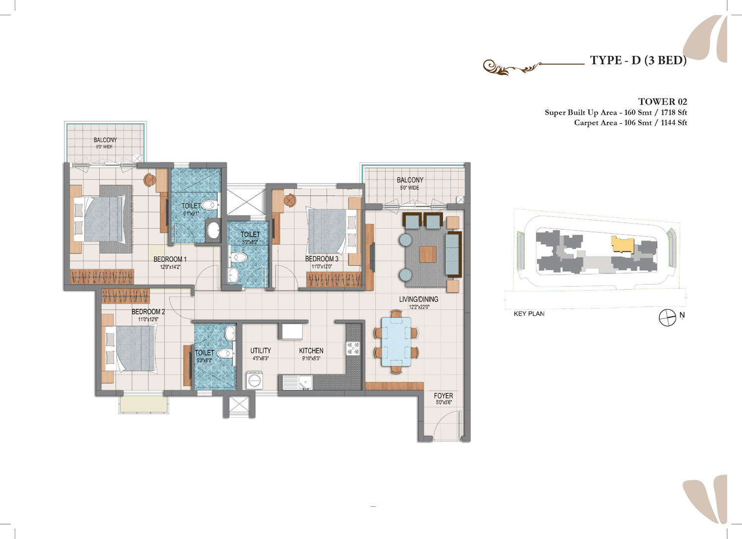 Type D - 3 Bed - 1718 Sq Ft
