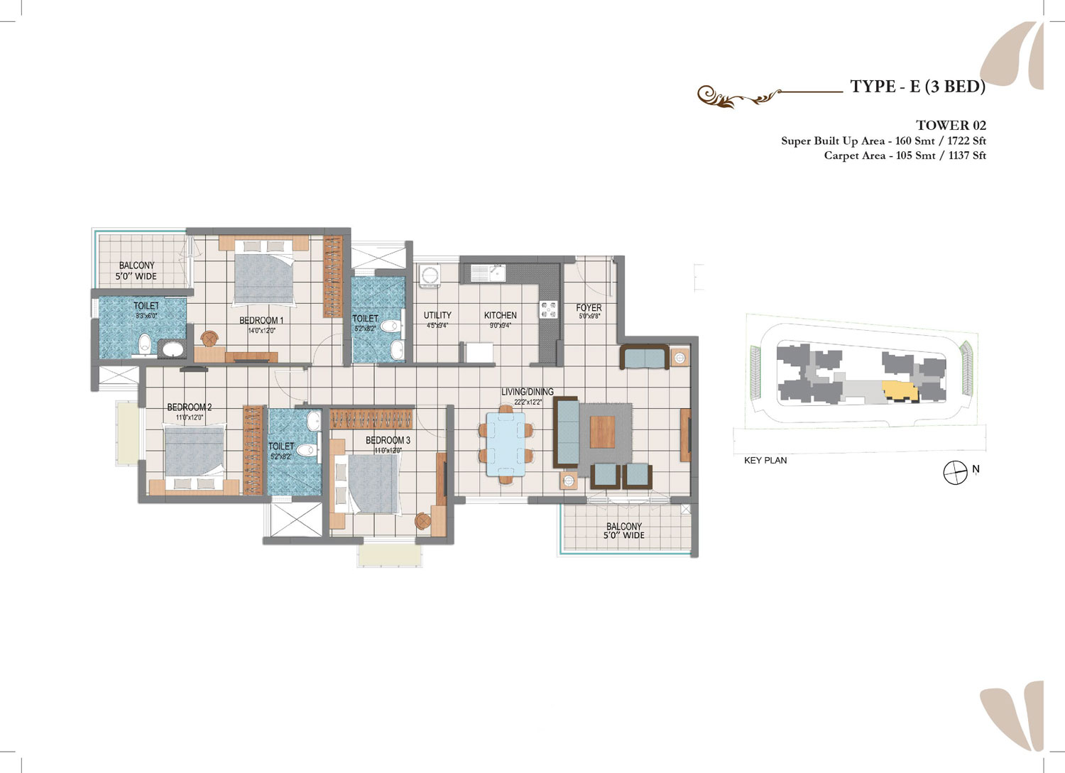 Type E - 3 Bed - 1722 Sq Ft