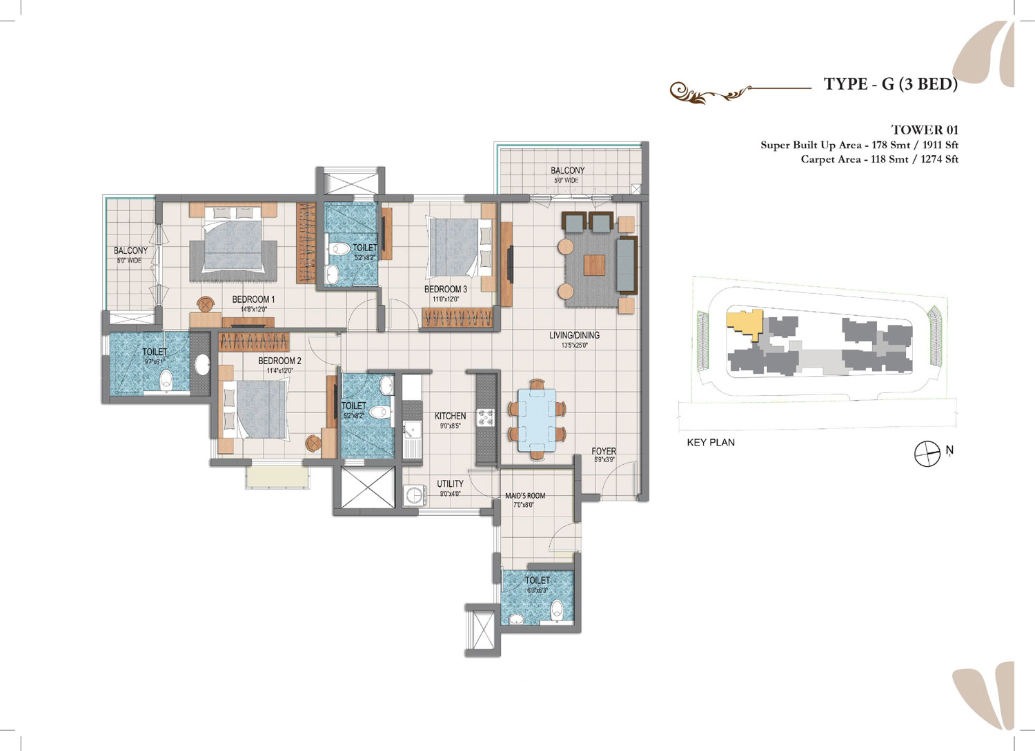 Type G - 3 Bed - 1911 Sq Ft