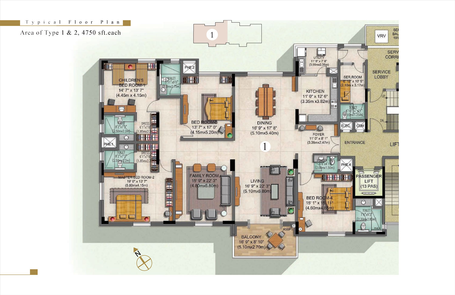 Type 1 - 4 Bed - 4750 Sq Ft
