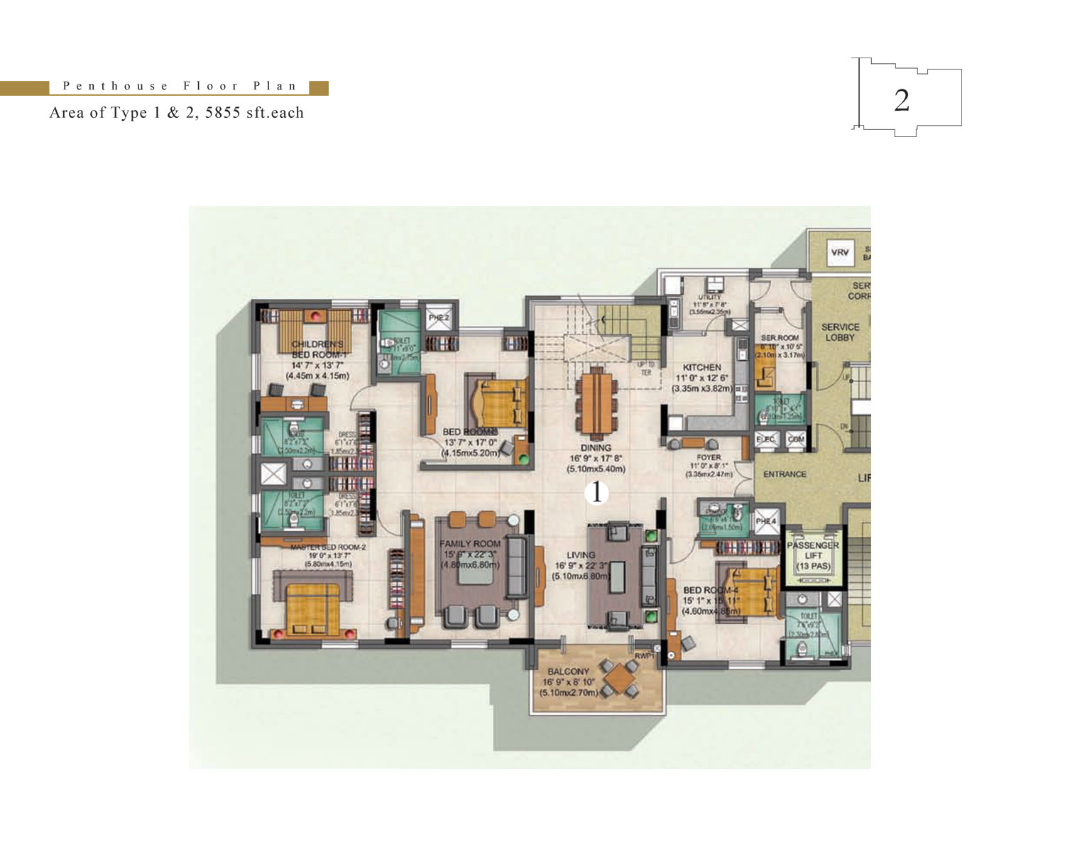 Type 1 - 4 Bed - Penthhouse - 5855 Sq Ft