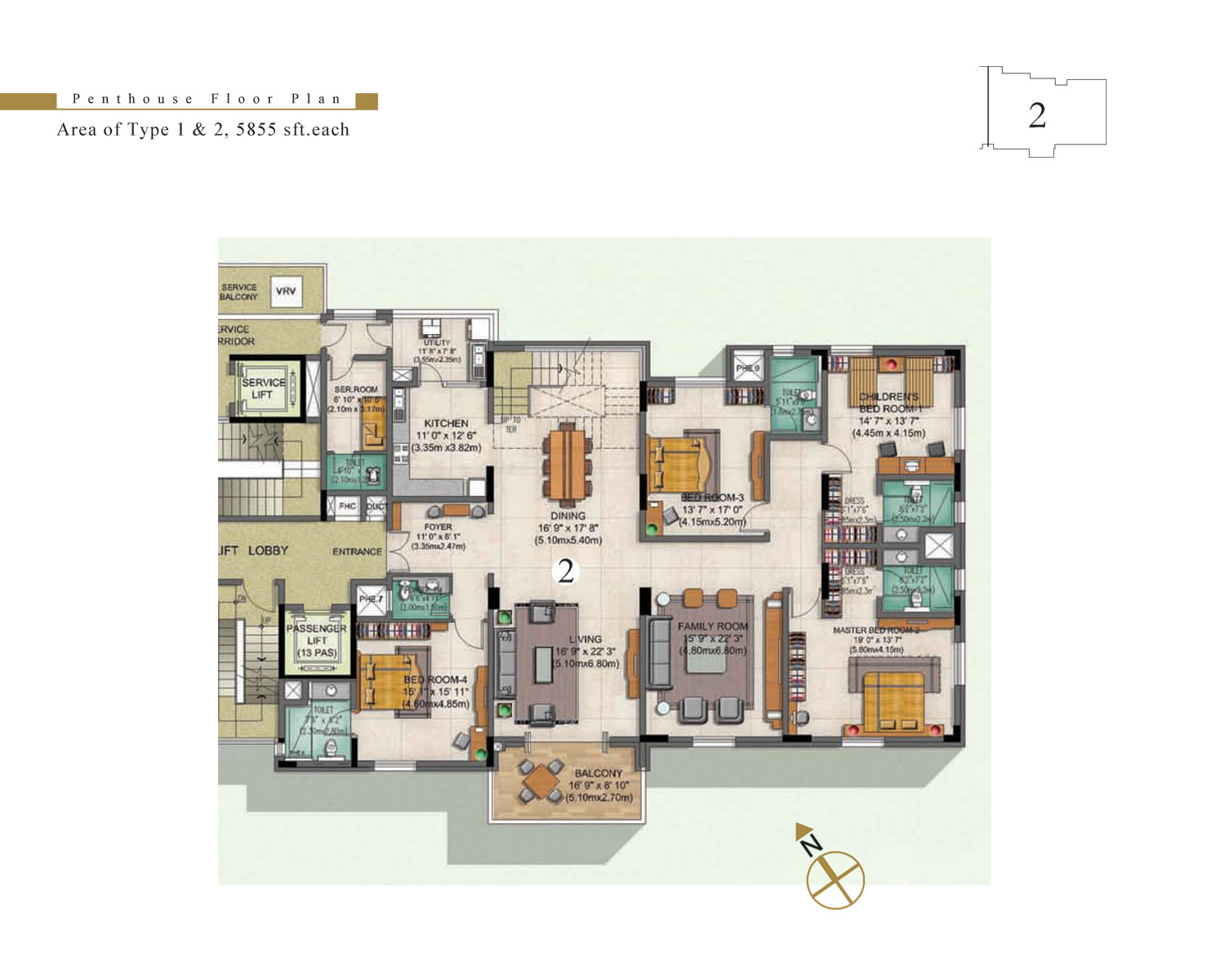 Type 2 - 4 Bed - Penthhouse - 5855 Sq Ft