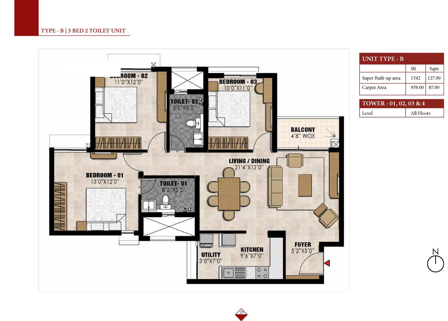 Type B -  3 Bed - 1342 Sq Ft
