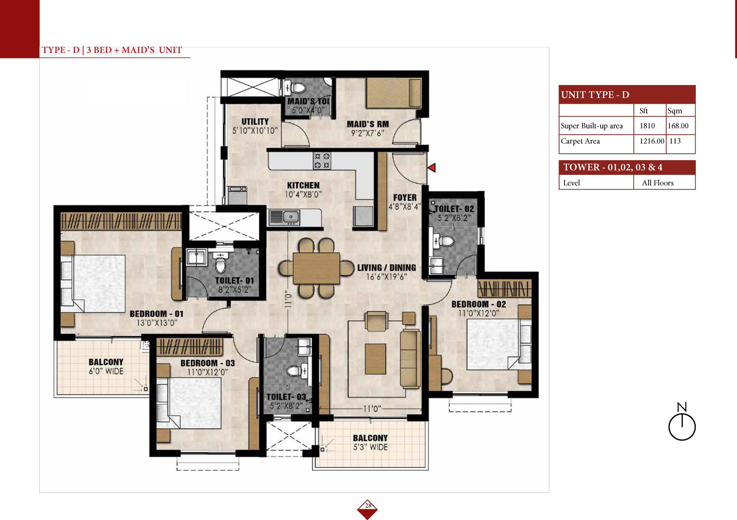Type D -  3 Bed - 1810 Sq Ft