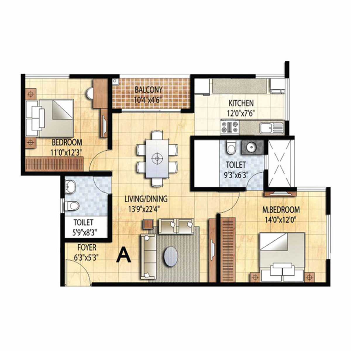 Type A - 2 Bed - 1208 Sq Ft