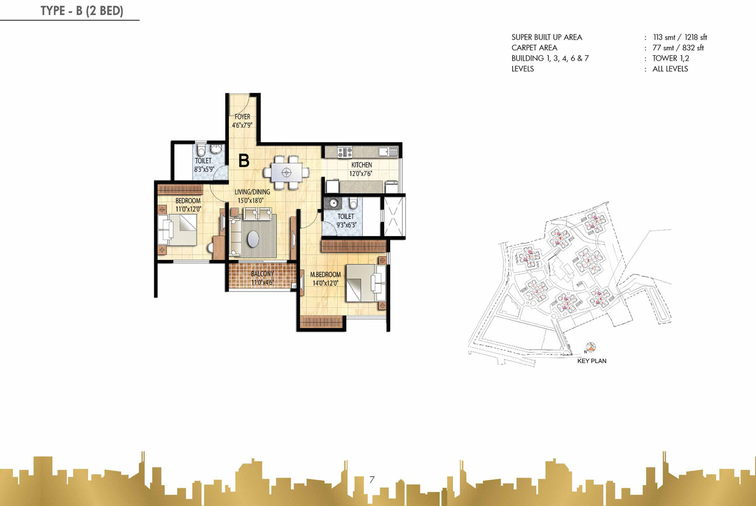 Type B - 2 Bed - 1218 Sq Ft