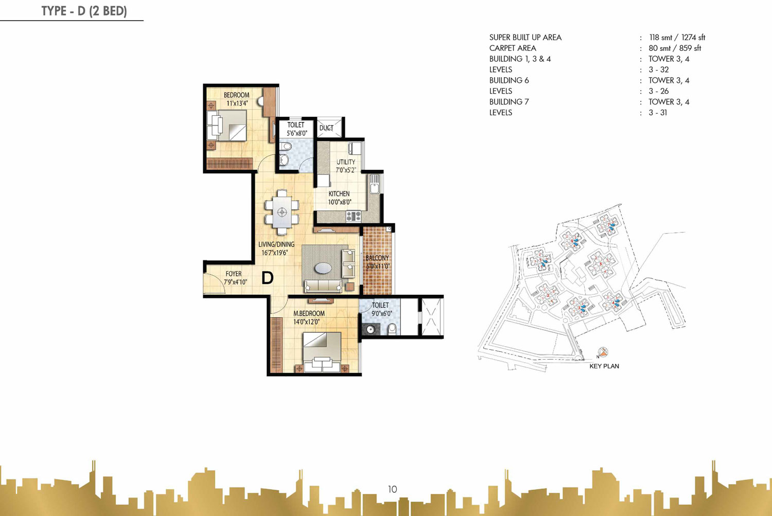 Type D - 2 Bed - 1274 Sq Ft