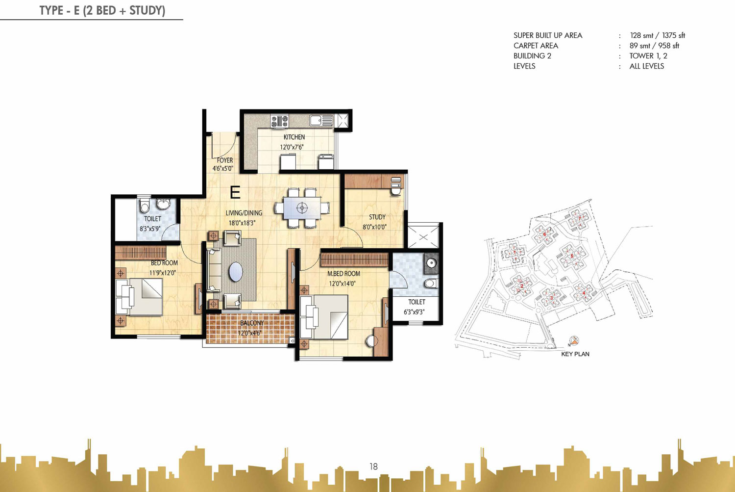 Type E - 2 Bed - 1375 Sq Ft