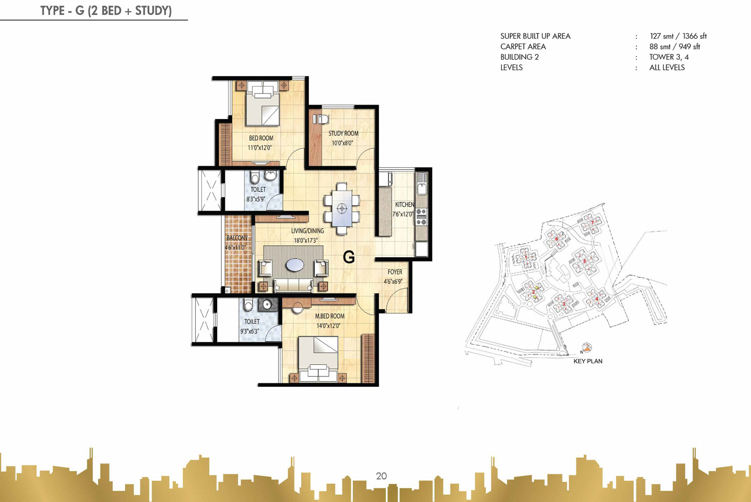Type G - 2 Bed Study - 1366 Sq Ft