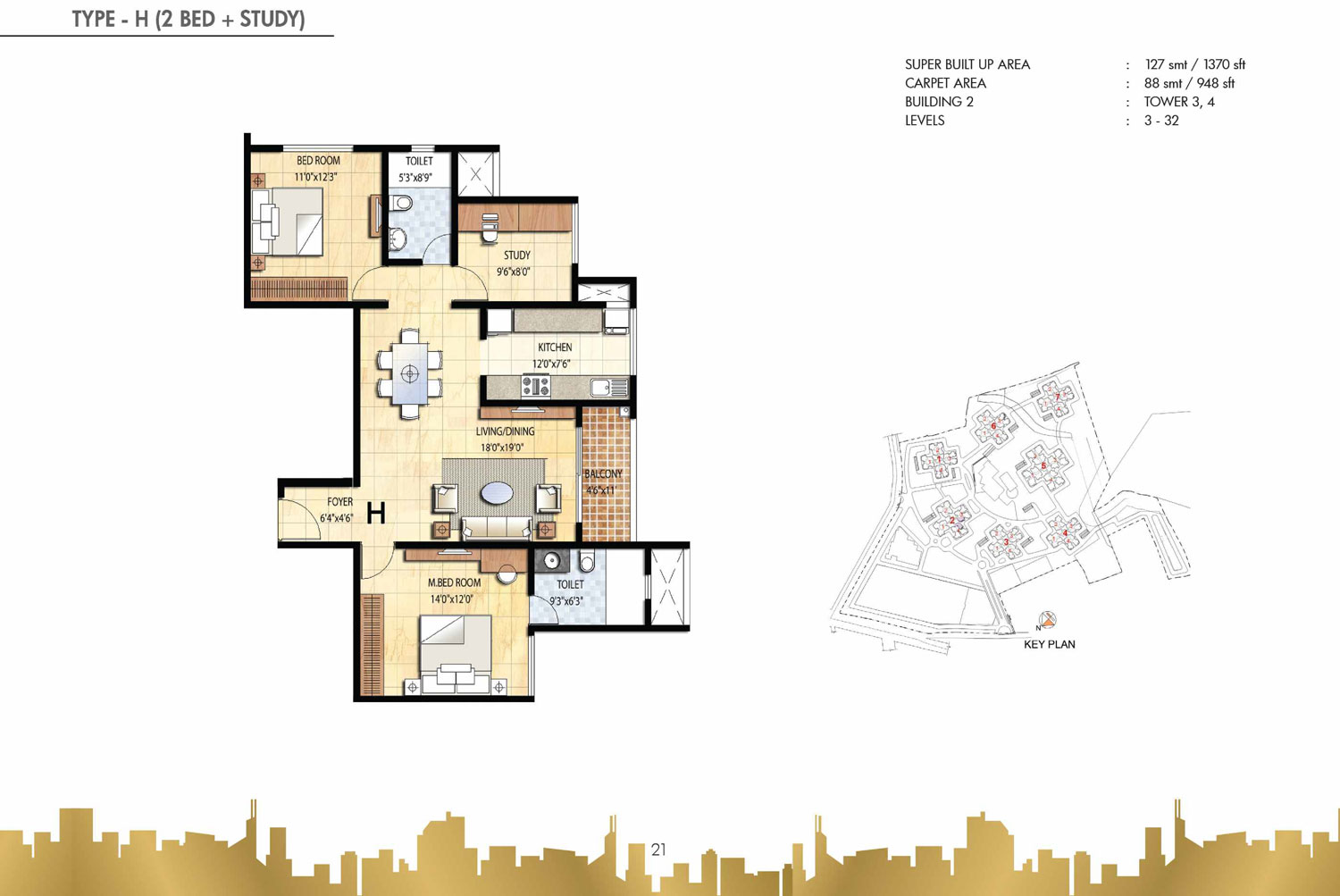 Type H - 2 Bed Study - 1370 Sq Ft