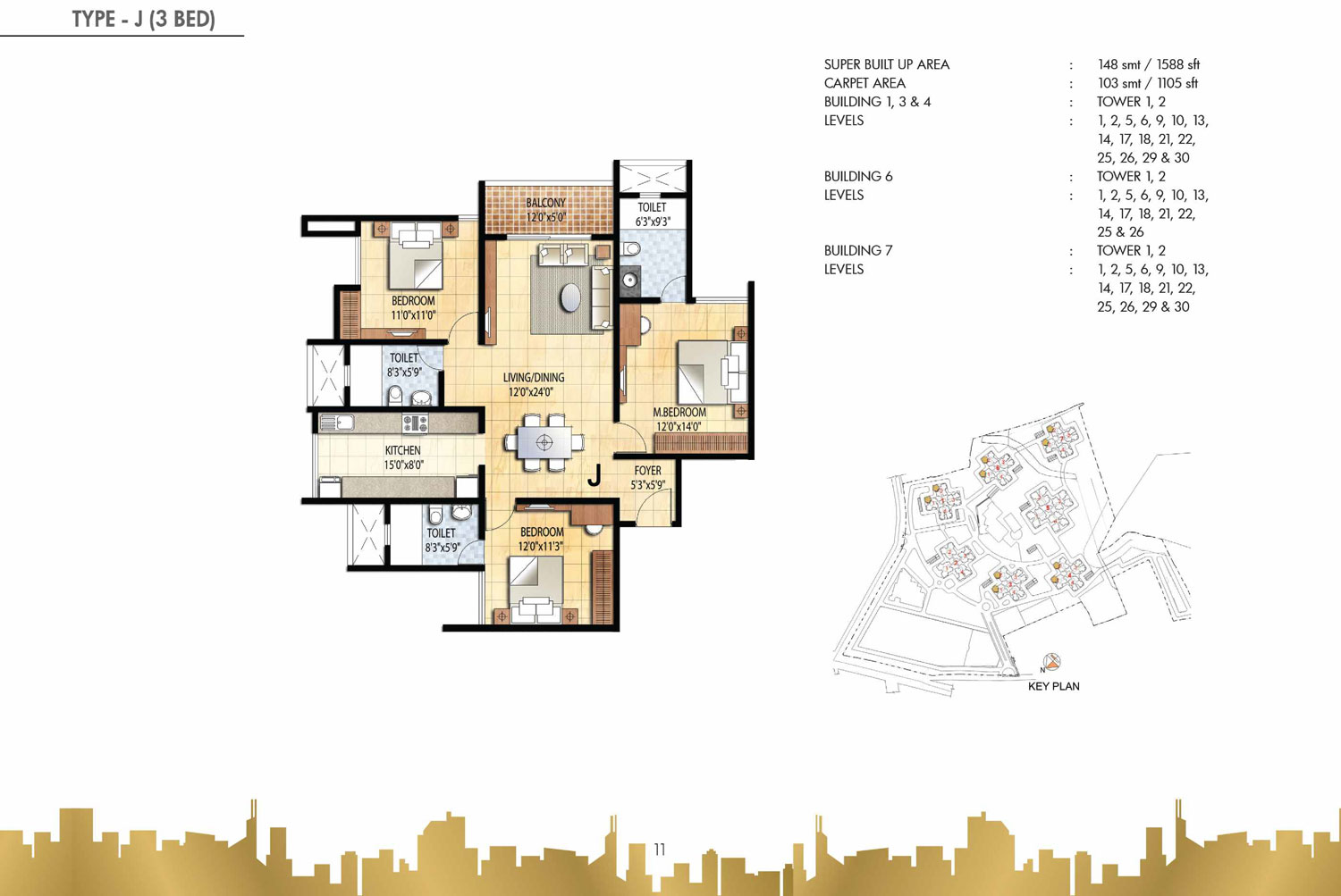 Type J - 3 Bed - 1588 Sq Ft