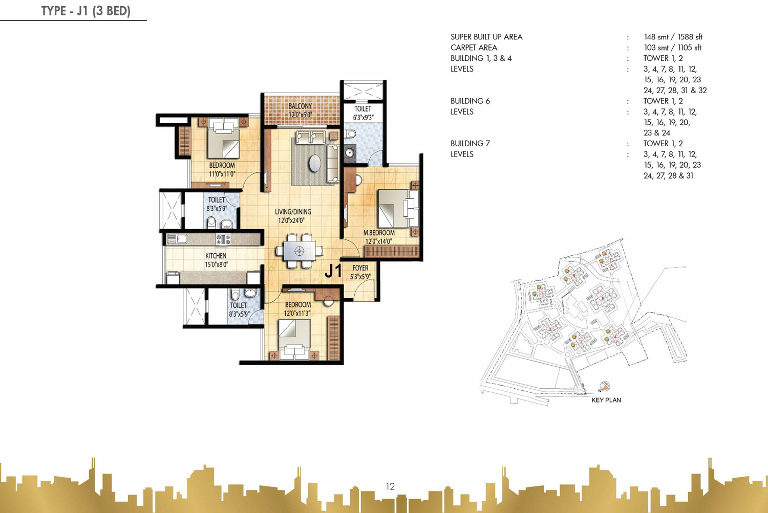 Type J1 - 3 Bed - 1588 Sq Ft